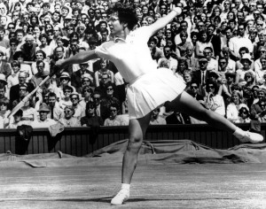 American tennis player Billie Jean King is seen in play during the women's singles at the All England Lawn Tennis Championships at Wimbledon in London on July 8, 1967. King defeated her opponent Anne Jones of Britain. (AP Photo)